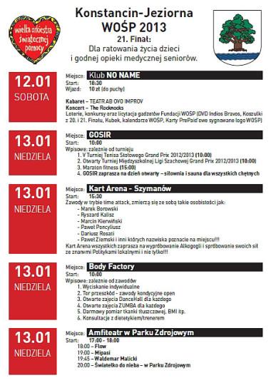 Program 21. finału WOŚP Konstancin-Jeziorna